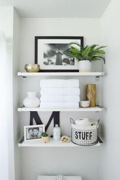 Emerson Grey Designs : Nursery Interior Designer: Styling shelves {our new home} Toilet Room Decor, Small Toilet Room, Bathroom Shelf Decor, Floating Shelves Bathroom, Small Bathroom, Bathroom Styling, Bathroom Storage, Bathroom Ideas, Regal Design