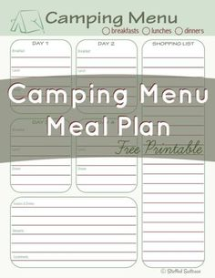 Here's an idea for your next camping trip! Use this Camping Menu Meal Planning free printable to guide your organization of dinner and family meal plans StuffedSuitcase.com Camping Bedarf, Girl Scout Camping, Retro Camping, Camping With Kids, Family Camping, Camping Hacks, Outdoor Camping, Glamping, Camping Ideas