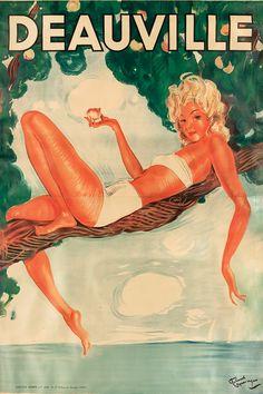 Jean-Gabriel Domergue ca Deauville, France. Woman Illustration, Graphic Design Illustration, Vintage Beach Posters, Jean Gabriel Domergue, Poster Ads, Vintage Advertisements, French Vintage, Fairy Tales, Artwork