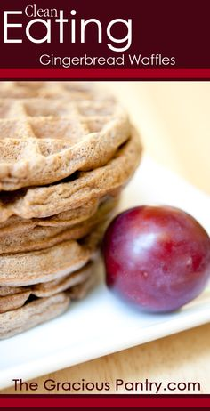Clean Eating Gingerbread Waffles. #cleaneatingrecipes #cleaneating #eatclean #cleaneatingbreakfast #breakfastrecipes #breakfast