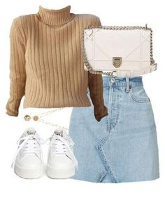 A fashion look from February 2018 featuring RE/DONE mini skirts, Ash sneakers e Christian Dior shoulder bags. Browse and shop related looks. Cute Casual Outfits, Stylish Outfits, Look Fashion, Korean Fashion, Outing Outfit, Mode Streetwear, Kpop Fashion Outfits, Polyvore Outfits, Look Cool