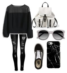 """""""Black"""" by hudzshaik on Polyvore featuring Chicwish, Vans, Steve Madden and Recover"""