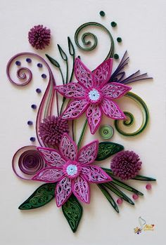 Neli Quilling Art: Quilling card - purple flowers