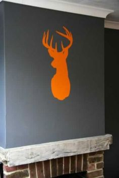 Stag Head Wall Stickers, above my piano in kitchen-diner Rockett St George
