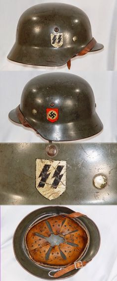 original Waffen-SS Helmet with decals__ADV collection Nagasaki, Hiroshima, Luftwaffe, German Helmet, Germany Ww2, German Uniforms, Fukushima, German Army, War Machine