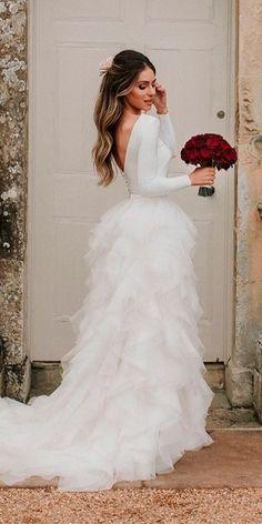 30 Stunning Long Sleeve Wedding Dresses For Brides ❤ long sleeve wedding dresses straight open back with ruffled skirt halfpenny london ❤ Full gallery: https://weddingdressesguide.com/long-sleeve-wedding-dresses/ #bride #wedding #bridalgown