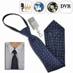 Spy Camera Tie with Wireless Remote It looks just like a regular tie, but it records audio video. It comes with a remote control and a built-in DVR. The built in USB port makes it easy to transfer data. This spy gadget will record up to 3 hours per si Security Surveillance, Security Camera, Camera Surveillance, Wireless Security, Security Alarm, Spy Watch, Covert Cameras, Hidden Spy Camera, Spy Gear