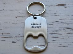 Bottle opener - ASPHALT COWBOY - stainless steel - key ring - hand sta - Whispering Metalworks