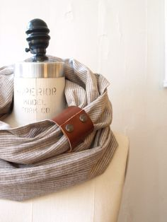 Chunky Sand stripe linen circular infinity scarf by System63, $40.00