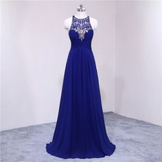 Royal Blue Floor Length Chiffon Formal Gown Featuring Sleeveless Bateau  Neckline Bodice with Beaded Embellishment fbe230715
