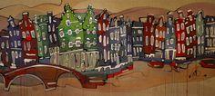 Het bekende hoekje bij de Jordaan in Amsterdam was het uitgangspunt bij het schilderen van dit werk. Er zijn diverse gevels van andere grachten bij elkaar gebracht en tezamen vormen ze een nieuw geheel. De vele verschillende pandjes, ornamenten, kleuren, bruggen, bootjes en drippings geven het een experimentele uitstraling. De zijkanten van het doek zijn meegeschilderd en hebben een dikte van 4cm. 1190euro