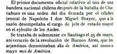 Primero uso de la bandera nacional chilena, orden firmado por BRAYER Michel oficial napoleonico......