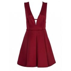 Choies Burgundy Plunge Neck High Waist Skater Dress (29 AUD) ❤ liked on Polyvore featuring dresses, red, red skater dress, plunging neckline dress, burgundy dress, red dress and burgundy red dress