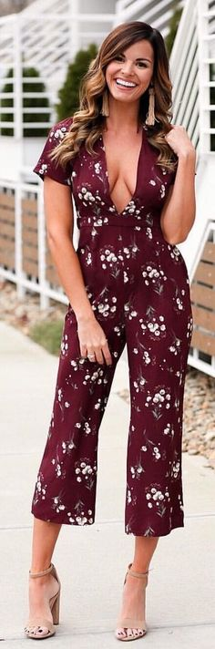 7ecf2ed294e  winter  outfits red and white floral cap-sleeved plunging neckline  jumpsuit. Pic