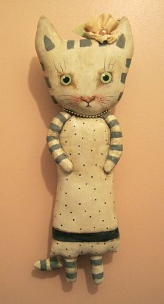 ooak cat art doll  original doll stripes cat by sandymastroni
