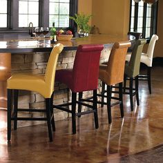 Valencia Leather Bar Stools ~ idea for back and mutli colours