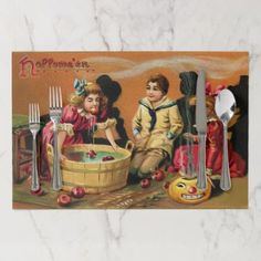 #Vintage kids Halloween party placemats - #Halloween happy halloween #festival #party #holiday #kids #children