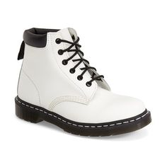 """Dr. Martens '939' Boot, 1 1/4"""" heel ($125) ❤ liked on Polyvore featuring shoes, boots, ankle booties, ankle boots, white, leather booties, white platform boots, platform booties, lace up platform booties e lace-up ankle boots"""