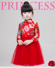 freeshipping!2017 Girls Dresses Spring Winter Chinese Style Red Cheongsam Dress Girls Long Sleeves Party Dress Children Clothing