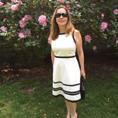 """Beautiful white & black dress Your perfect """"go to"""" summer dress. Fully lined with mesh detail. Invisible side zipper this dress is 80% polyester and 20% cotton. Just dry cleaned. Ann Taylor Dresses"""