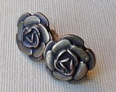Antique Brass Metal Rose Stud Post Earrings