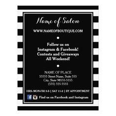 Trendy Black White Stripes Hair Salon Price List Flyer