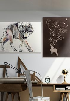 Love the unique look of the modern deer print combined with the mixed media wolf art.