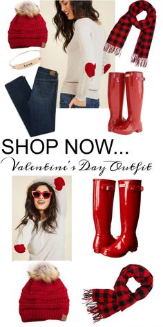 Frugal Fashion Friday Red Hunter Boots Valentine Outfit on Frugal Coupon Living. Valentine Fashion. How to wear Red Hunter Boots. Heart Sweater. CC hat in red.