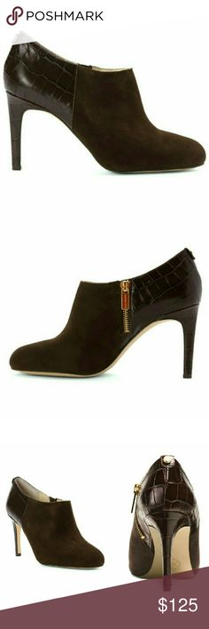 """New! MICHAEL KORS Bootie Suede Croc Ankle Boots Streamlined and sophisticated, the Sammy ankle boots from MICHAEL Michael Kors pairs perfectly with everything from jeans to skirts while always looking stylish. It features a gold-tone logo button detail and suede and croc-embossed leather upper.  * Brand New With Box  * Suede and croc-embossed leather upper * Almond closed-toe silhouette * Side zip closure * 3-1/4"""" heel * Manmade sole * Retails for $175 Michael Kors Shoes Ankle Boots…"""