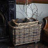 Rectangular Rattan Log Basket With Wheels