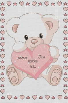 PDF Cross Stitch Chart New Baby Birth Sampler Birth Announcement baby bear and heart pink Cross Stitch Patterns Free Easy, Cross Stitch Beginner, Cross Stitch Letters, Cross Stitch Baby, Cross Stitching, Cross Stitch Embroidery, Newborn Toys, Cross Stitch Needles, Boy Quilts