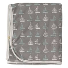 Seaside Collection Organic Cotton Jersey Blanket with Boat Print