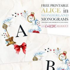 Are you having a wonderland-themed party? These FREE Alice in Wonderland monograms are perfect for a little wonderland decor! Available in 2 sizes! Alice In Wonderland Printables, Alice In Wonderland Tea Party Birthday, Alice In Wonderland Crafts, Wonderland Party, Monogram Wall Art, Mad Hatter Tea, Mad Hatters, Diy Weihnachten, Free Prints