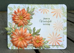 Tangerine Aster Bday Card. Have a Wonderful Birthday by Neva Cole    There are so many wonderful tangerine colored flowers, the daisy asters being one example. I created this card with the hope of making these flowers burst forward and to isolate the sentiment and draw attention back to the card. Super fun to create