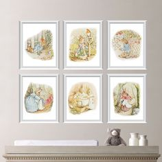"""This six-print set features six images of Beatrix Potter's beloved story, """"The Tale of Peter Rabbit"""". Description from etsy.com. I searched for this on bing.com/images"""