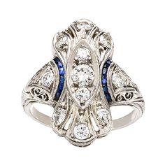 Diamond & Sapphire Platinum Edwardian Engagement Ring