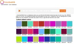Hex to RGB converter with HTML and CSS examples for your website! http://www.colorhexrgb.com