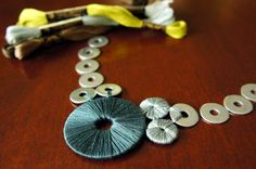 Washers and embroidery thread make this beautiful necklace.