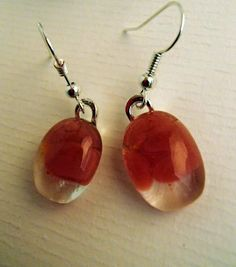 Glass fusion lava lamp pink earrings by LikeYourJunk on Etsy, $15.00