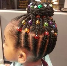 Colored beads braided up bun