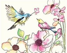 Image result for Decoupage Paper flower birds humming
