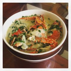 Make this yummy soup..  Coconut crab soup with veggies..