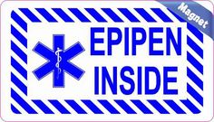 3.5inx2in Epipen Inside Magnet Magnetic Medical Alert Emergency Sign Decal