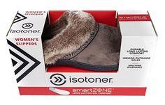Isotoner Womens Smartzone Gel Comfort Technology Slippers (Medium / 7.5-8, Smokey Taupe)