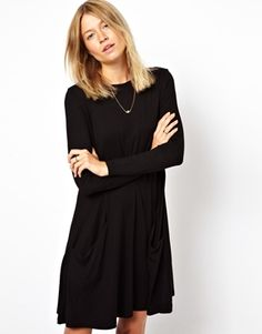 ASOS Swing Dress With Pockets And Long Sleeves