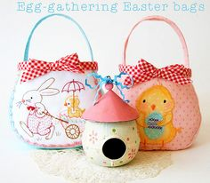 Easter Rabbit & Chick Bags – Free PDF Sewing, Embroidery, and Applique Patterns from Red Brolly