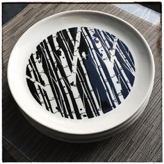 Birch tree dinner plates. #studiopottery #handmade #pottery #ceramics Clay Plates, Ceramic Plates, Porcelain Ceramics, White Ceramics, Decorative Plates, Ceramic Decor, Ceramic Pottery, Advanced Ceramics, Pottery Classes