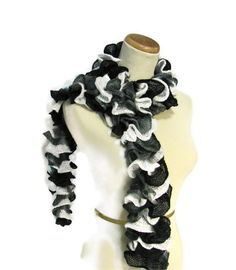 Sale Hand Knit Ruffled Scarf  Black White Gray  by ArlenesBoutique, $30.00