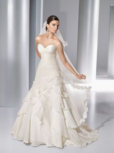 absolutely LOVE this satin organza gown and look at the veil ... stunning matching trim!! <3