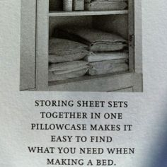 why didn't i think of that? I agree with that - why didn't I think of it - it's so simple - duh? Sheet Storage, Just In Case, Just For You, How To Make Bed, Home Hacks, Organization Hacks, Getting Organized, Homemaking, Housekeeping